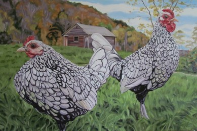 Silver Sebright Rooster and Hen, 24 x 36 sold
