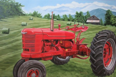 Red Farmall, 24 x 36 inches
