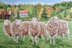 Four Ewe, 20 x 30 inches