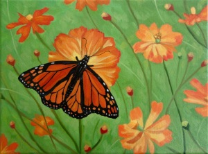 Monarch with Orange Cosmos, 9 x 12 inches