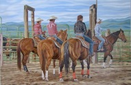At the Barrel Races, 24 x 36 inches