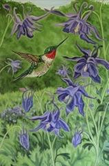 Hummingbird with Purple Columbine, 18 x 24 inches