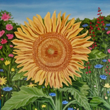 Russell Sunflower, 18 x 18 inches